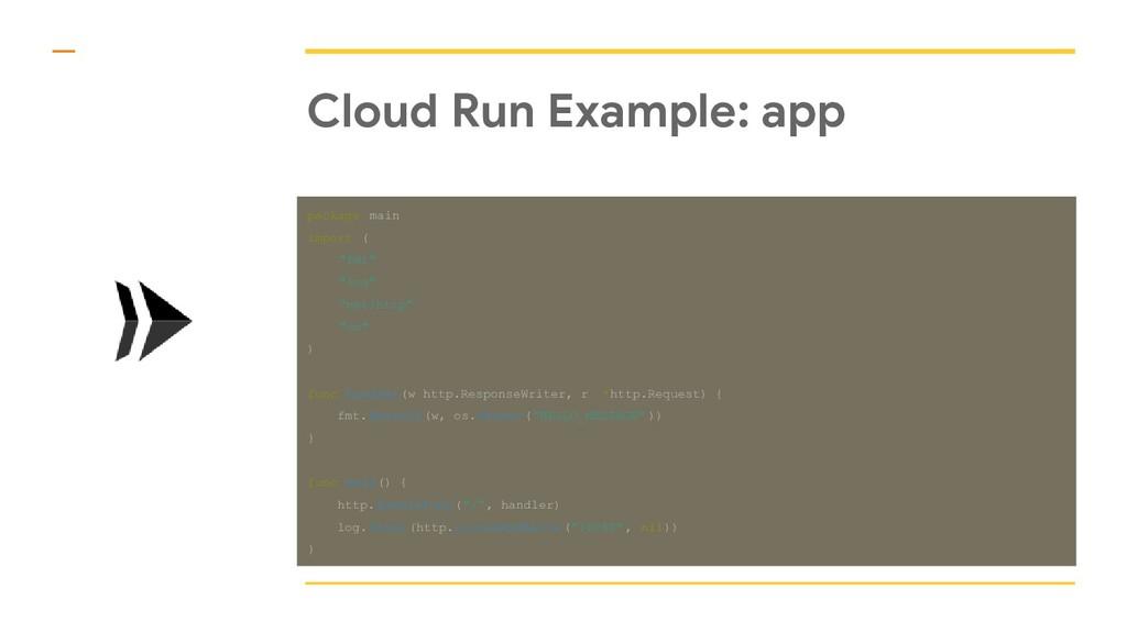 """Cloud Run Example: app package main import ( """"f..."""