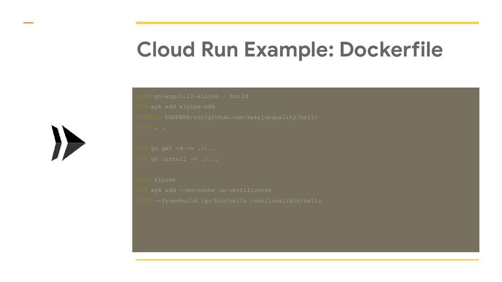 Cloud Run Example: Dockerfile FROM golang:1.12-...