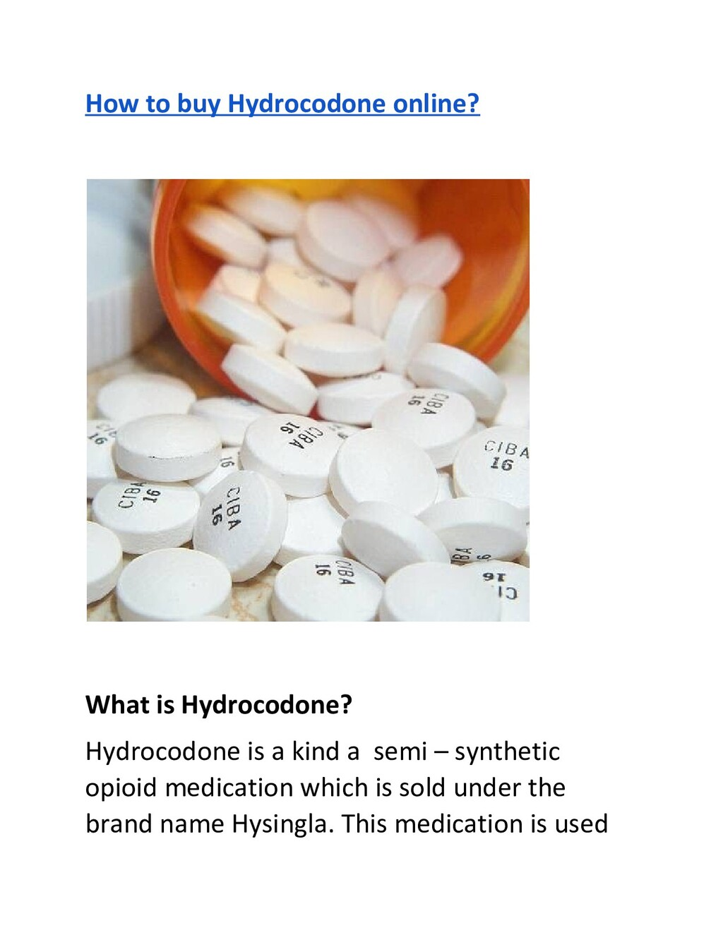 How to buy Hydrocodone online? What is Hydrocod...