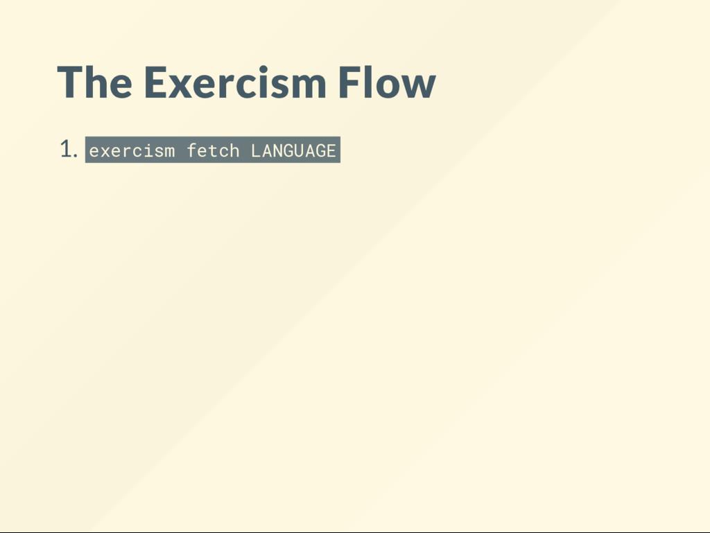 The Exercism Flow 1. exercism fetch LANGUAGE