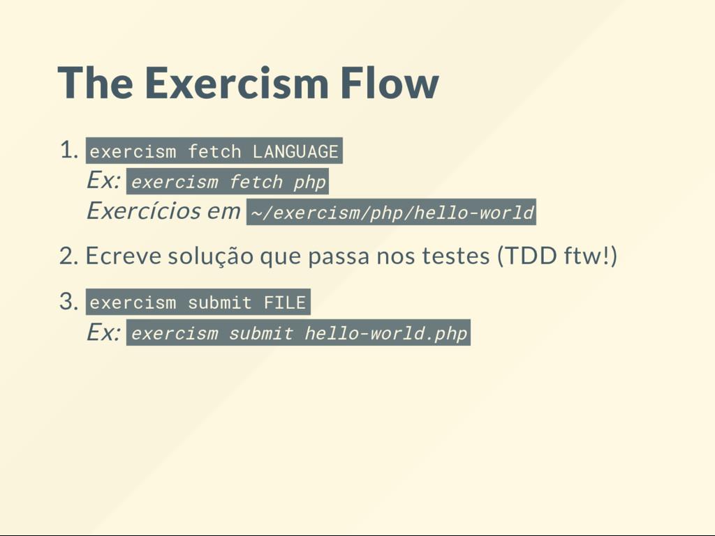 The Exercism Flow 1. exercism fetch LANGUAGE Ex...
