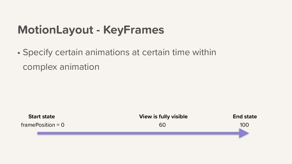 MotionLayout - KeyFrames • Specify certain anim...