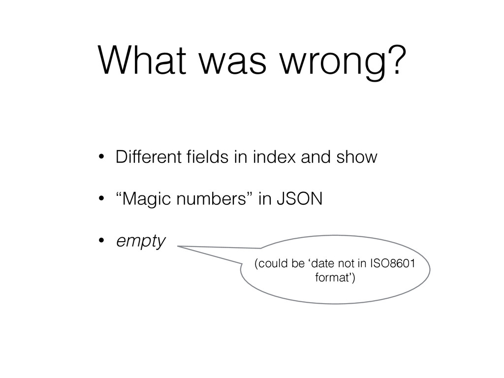 What was wrong? • Different fields in index and ...