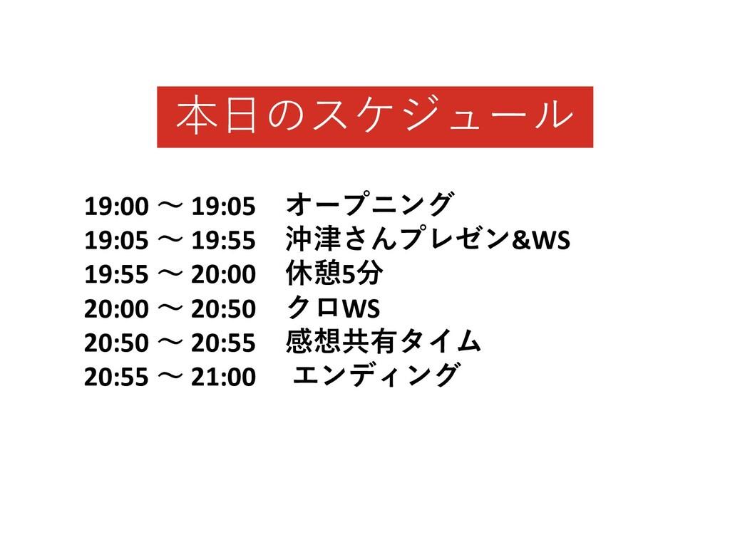 19:00 〜 19:05 オープニング 19:05 〜 19:55 沖津さんプレゼン&WS ...