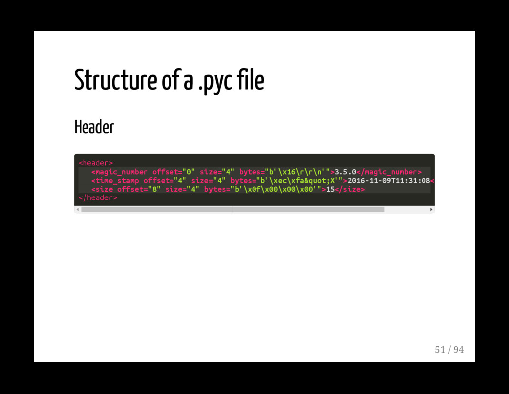 Structure of a .pyc file Header <header> <magic...