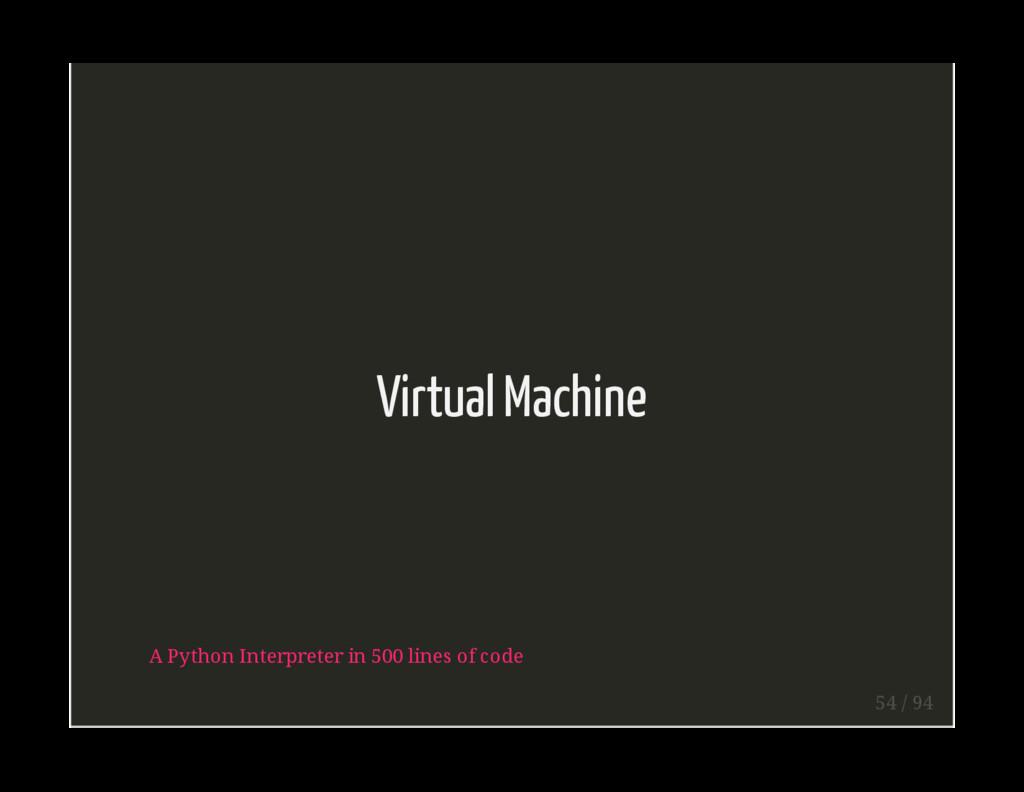 Virtual Machine A Python Interpreter in 500 lin...