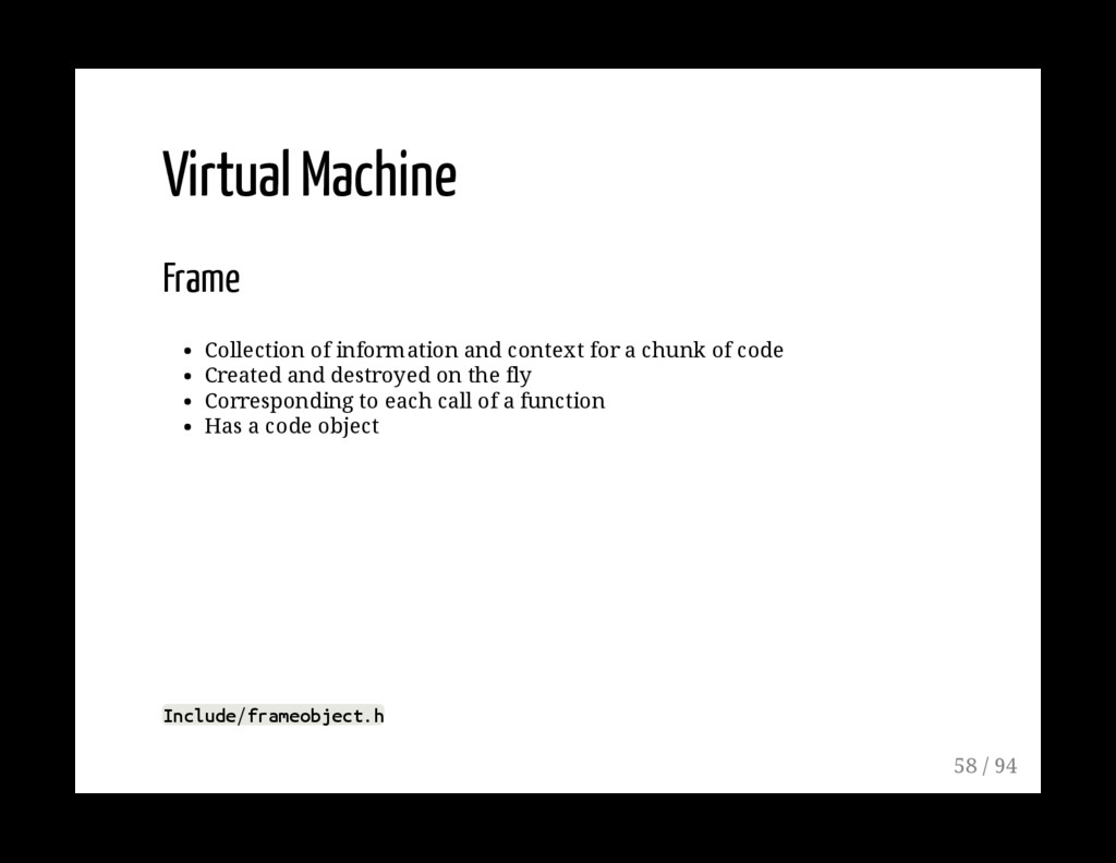 Virtual Machine Frame Collection of information...