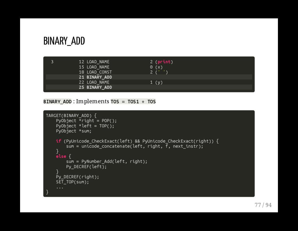 BINARY_ADD 3 12 LOAD_NAME 2 (print) 15 LOAD_NAM...