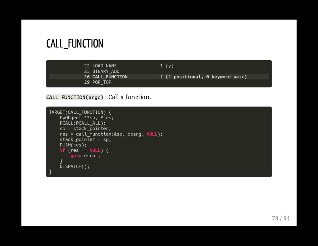 CALL_FUNCTION 22 LOAD_NAME 1 (y) 25 BINARY_ADD ...