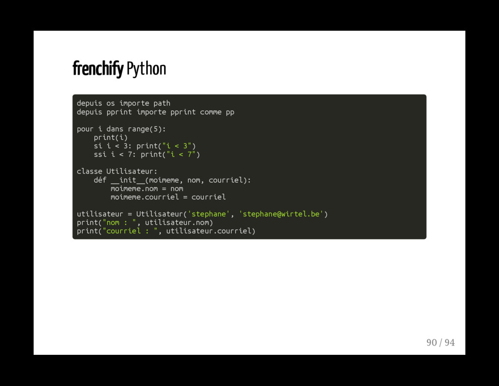 frenchify Python depuis os importe path depuis ...