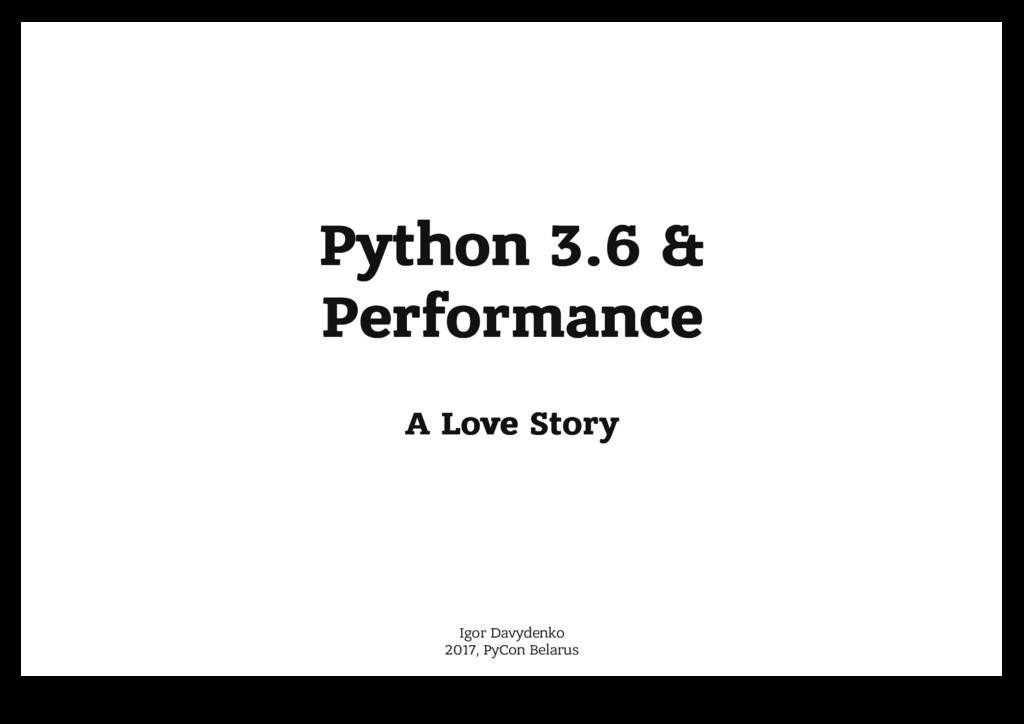 Python 3.6 & Python 3.6 & Performance Performan...