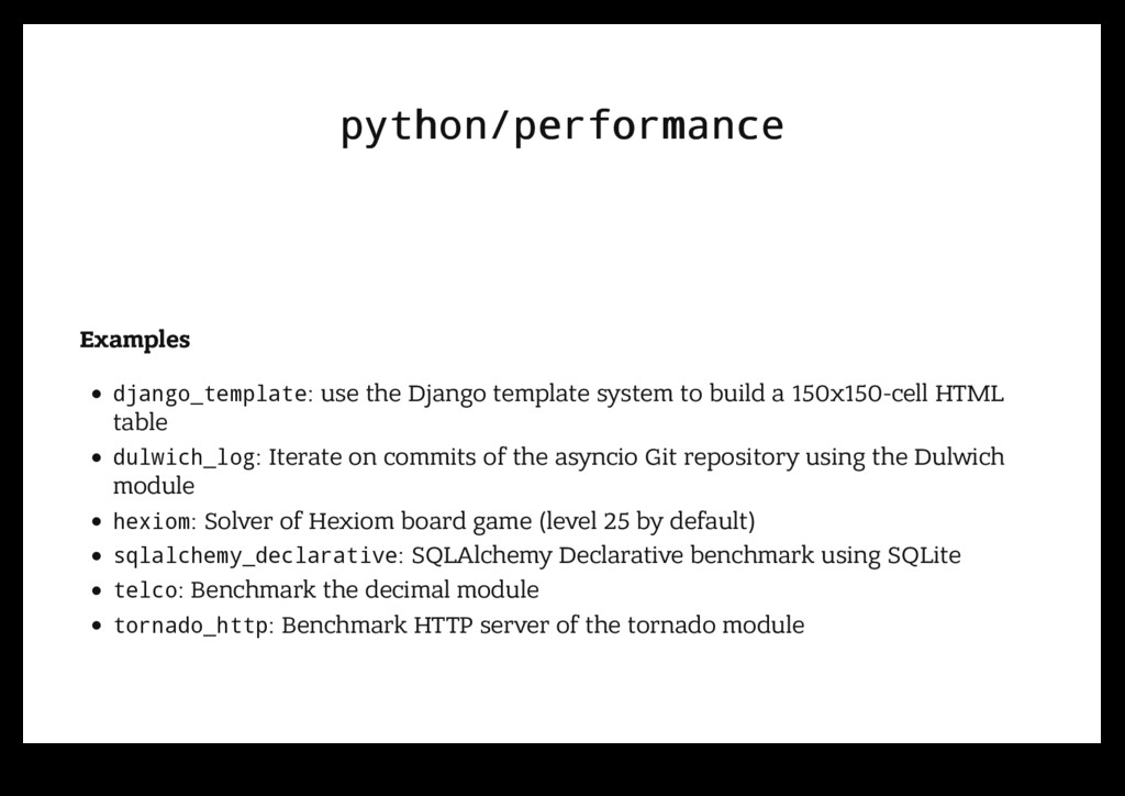 python/performance python/performance Examples ...