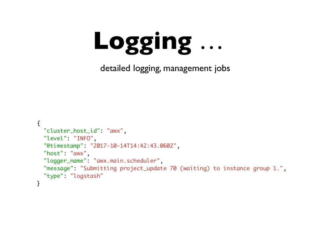 """Logging … detailed logging, management jobs { """"..."""