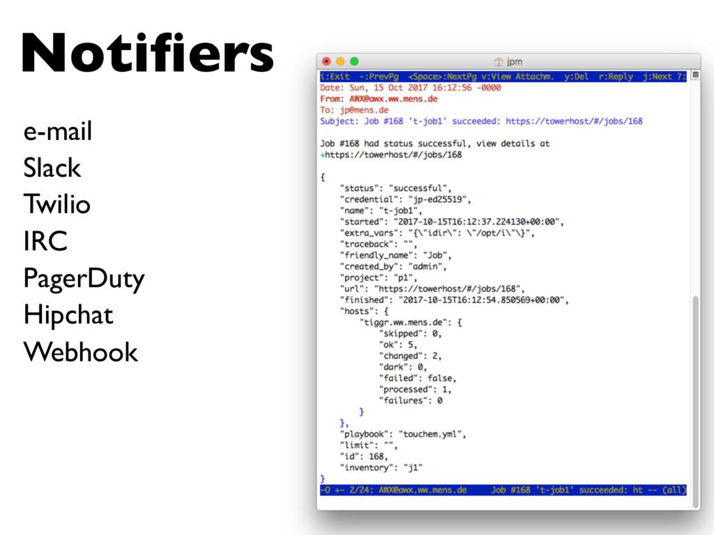 Notifiers e-mail Slack Twilio PagerDuty Hipchat ...