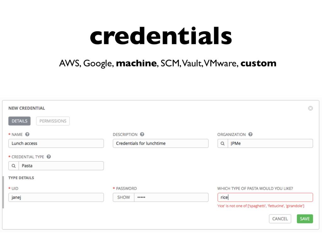 credentials AWS, Google, machine, SCM, Vault, V...