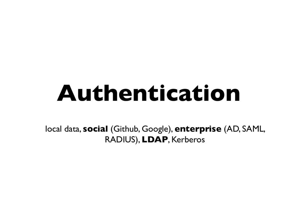 Authentication local data, social (Github, Goog...