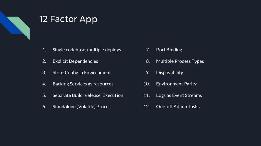 12 Factor App 1. Single codebase, multiple depl...