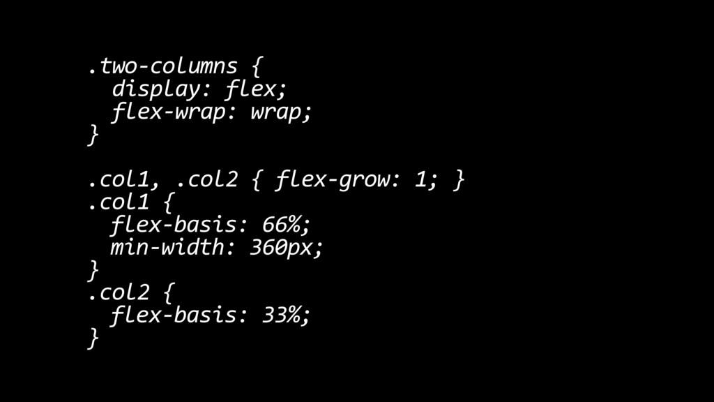 .two-columns { display: flex; flex-wrap: wrap; ...