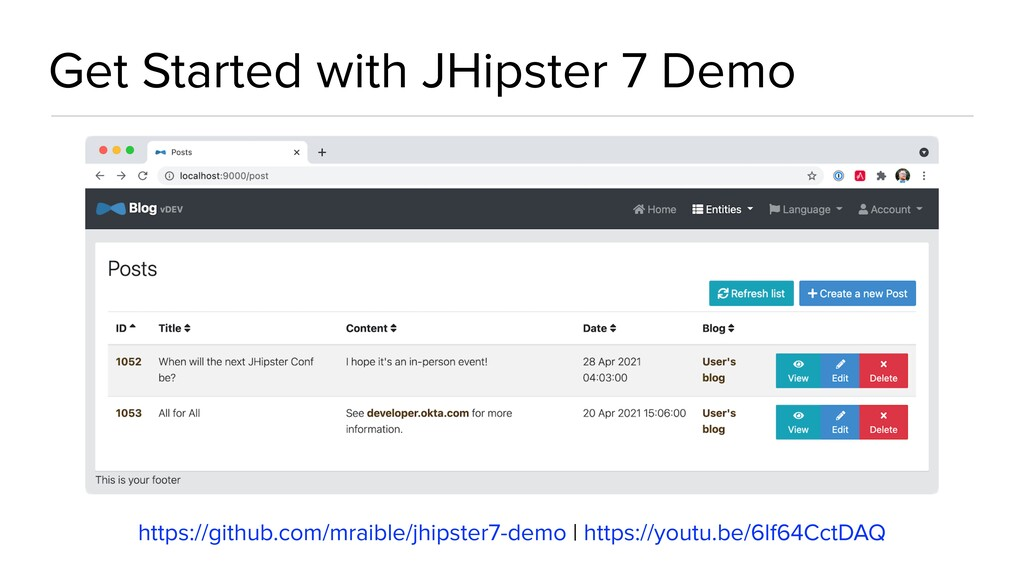Get Started with JHipster 7 Demo https://github...