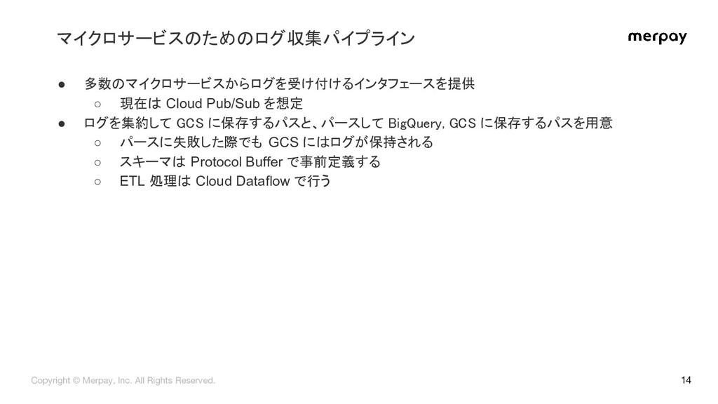 14 ● 多数のマイクロサービスからログを受け付けるインタフェースを提供 ○ 現在は Clou...