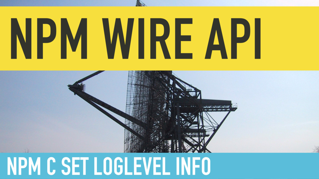 NPM WIRE API NPM C SET LOGLEVEL INFO