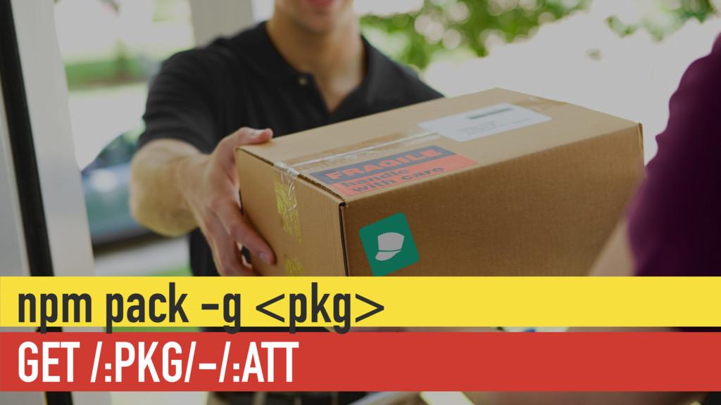 GET /:PKG/-/:ATT npm pack -g <pkg>
