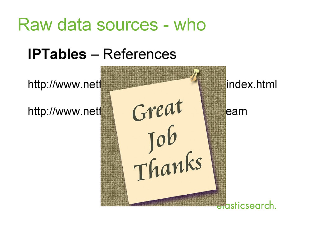 Raw data sources - who IPTables – References ht...