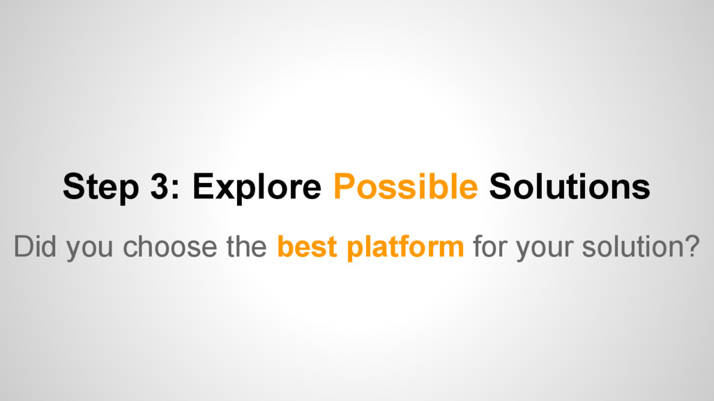 Step 3: Explore Possible Solutions Did you choo...