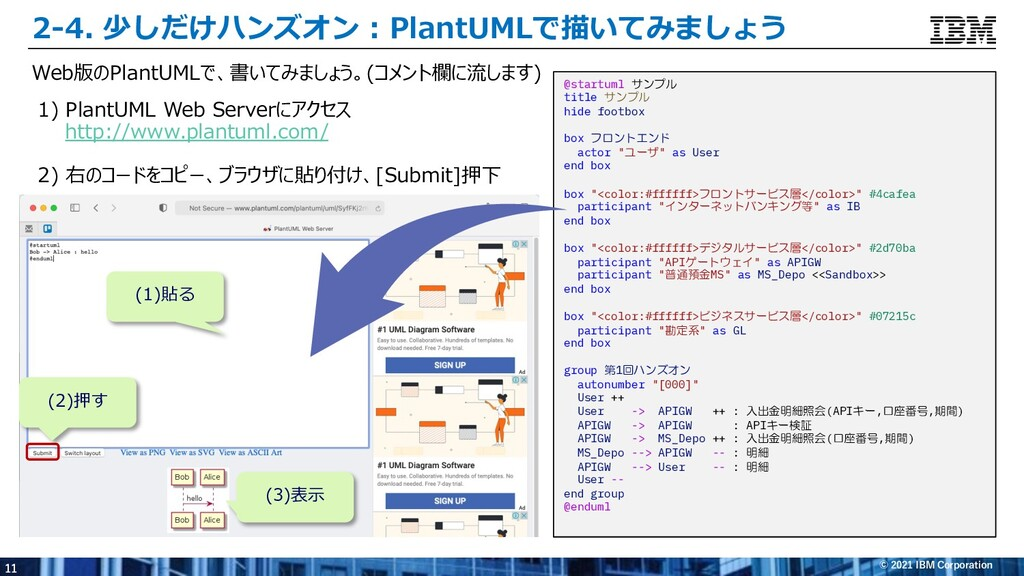 11 © 2021 IBM Corporation 2-4. 少しだけハンズオン : Plan...
