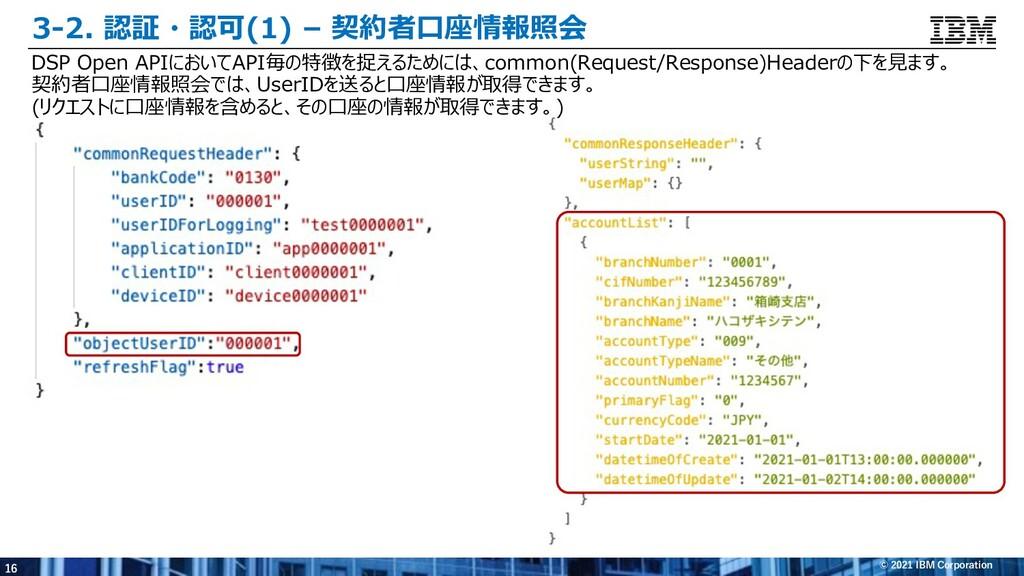 16 © 2021 IBM Corporation 3-2. 認証・認可(1) – 契約者⼝座...