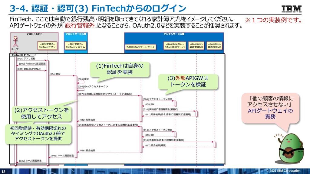 18 © 2021 IBM Corporation 3-4. 認証・認可(3) FinTech...