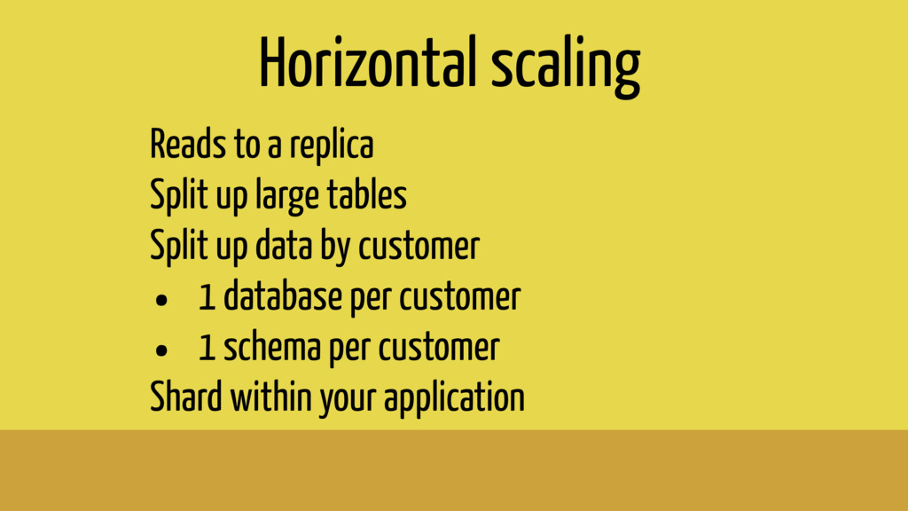Horizontal scaling Reads to a replica Split up ...