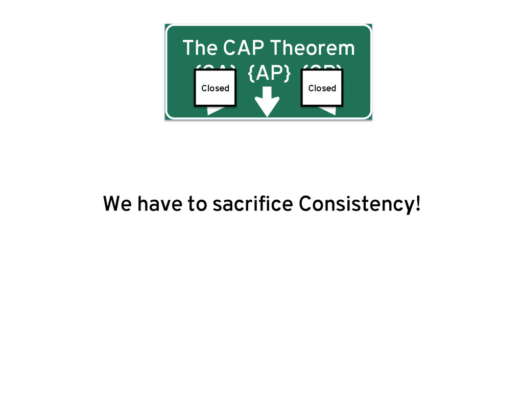 The CAP Theorem {CA} {AP} {CP} We have to sacri...
