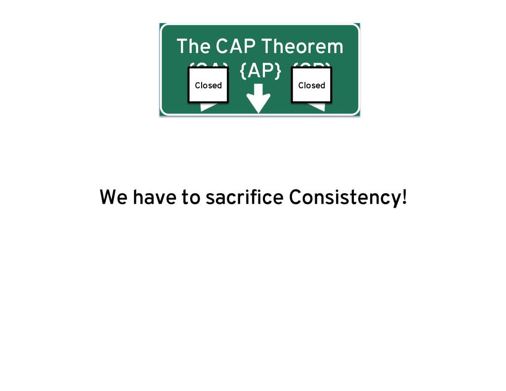 The CAP Theorem {CA} {AP} {CP} We have to sacri...