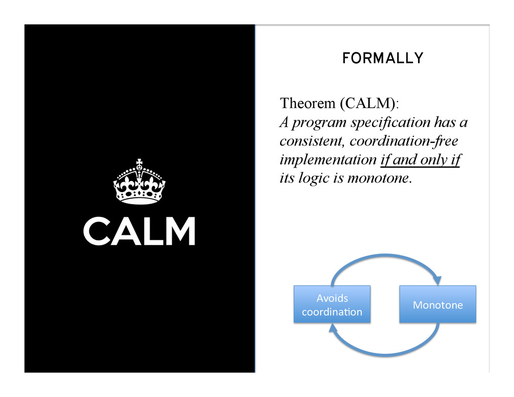 ± CALM FORMALLY Theorem (CALM): A program speci...