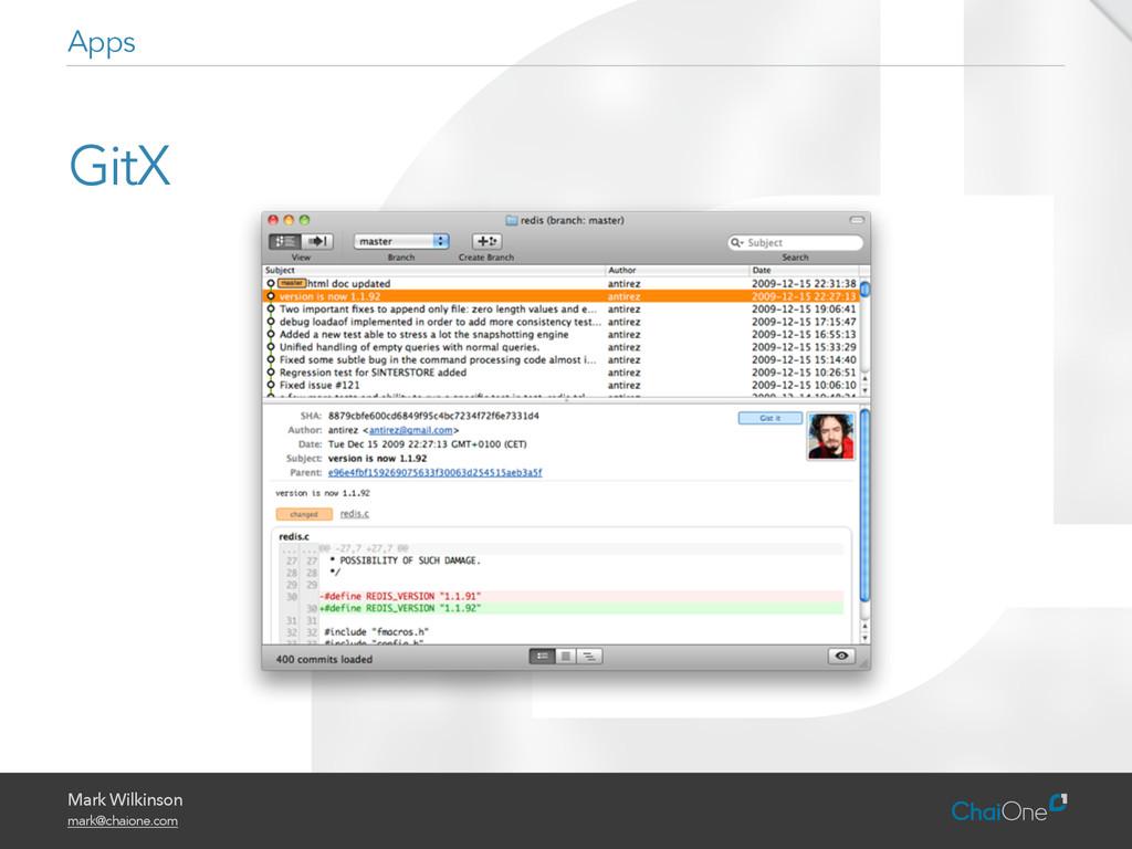 Mark Wilkinson mark@chaione.com GitX Apps