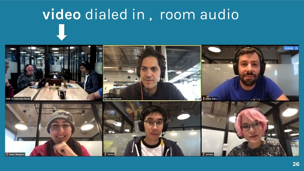 26 video dialed in , room audio
