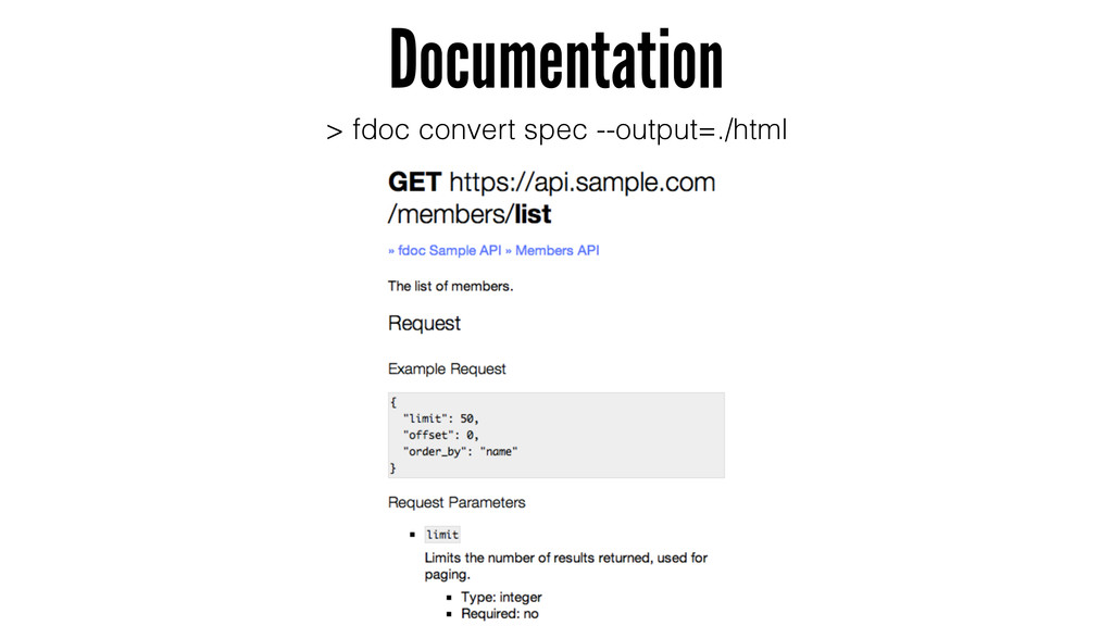 Documentation > fdoc convert spec --output=./ht...