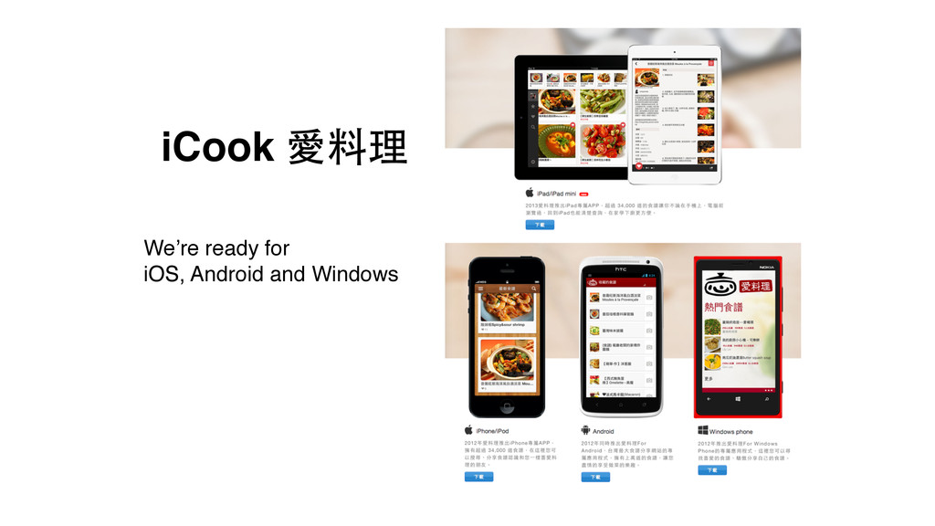 iCook 愛料理 We're ready for! iOS, Android and Win...