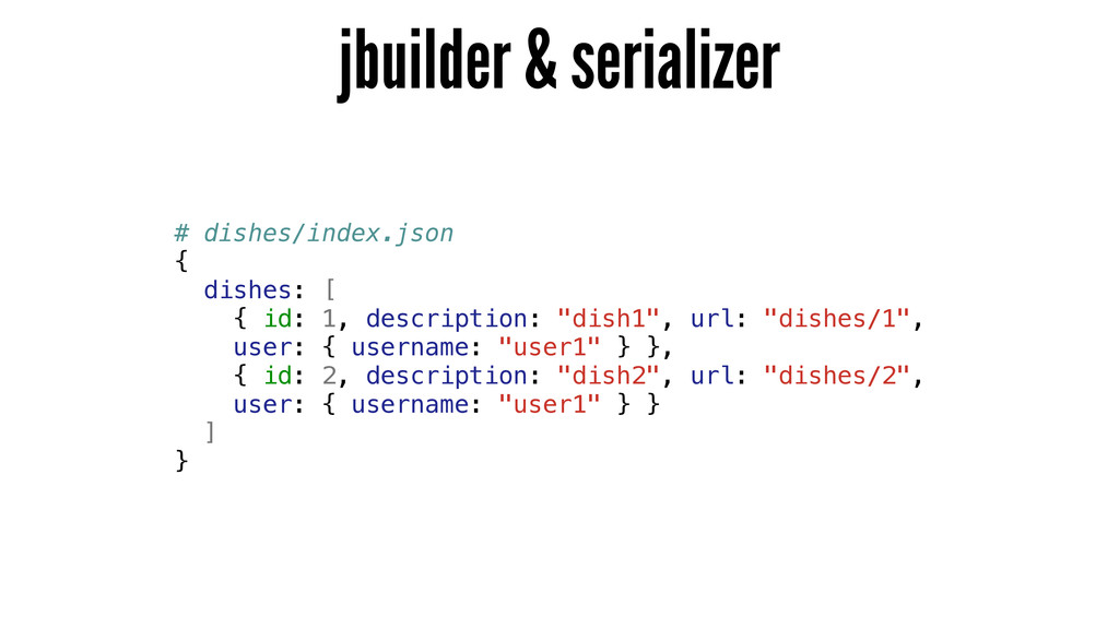 jbuilder & serializer # dishes/index.json { dis...