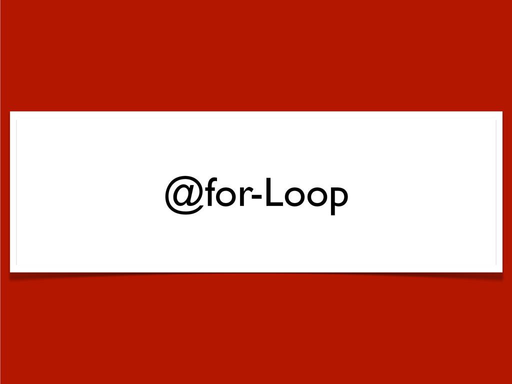 @for-Loop