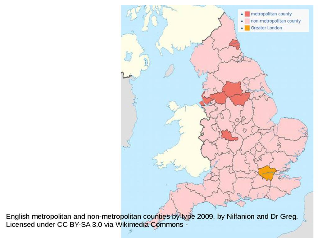 English metropolitan and non-metropolitan count...
