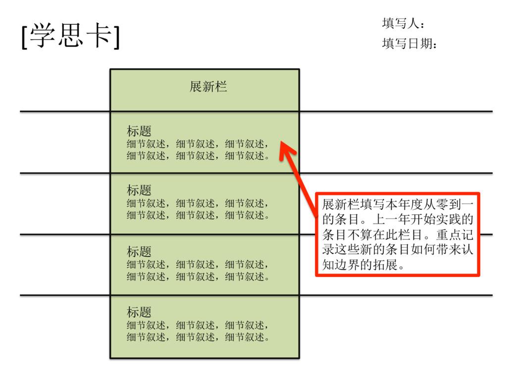 [学思卡] 填写人: 填写日期: 展新栏 标题 细节叙述,细节叙述,细节叙述, 细节叙述,细节...