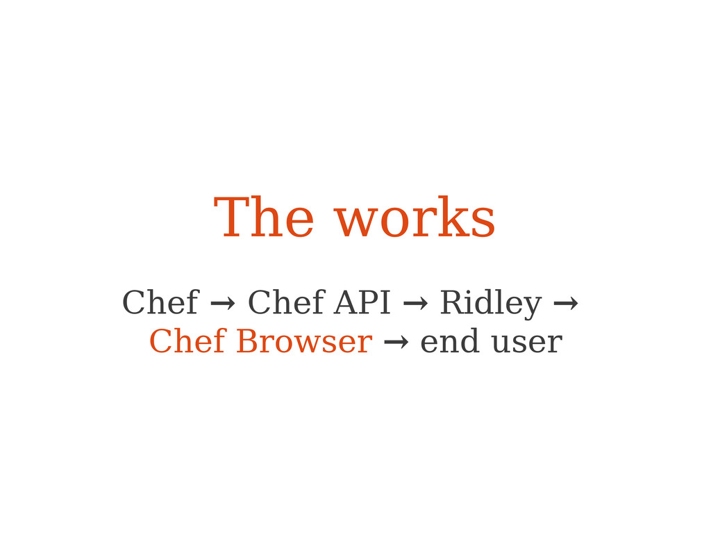 The works Chef → Chef API → Ridley → Chef Brows...
