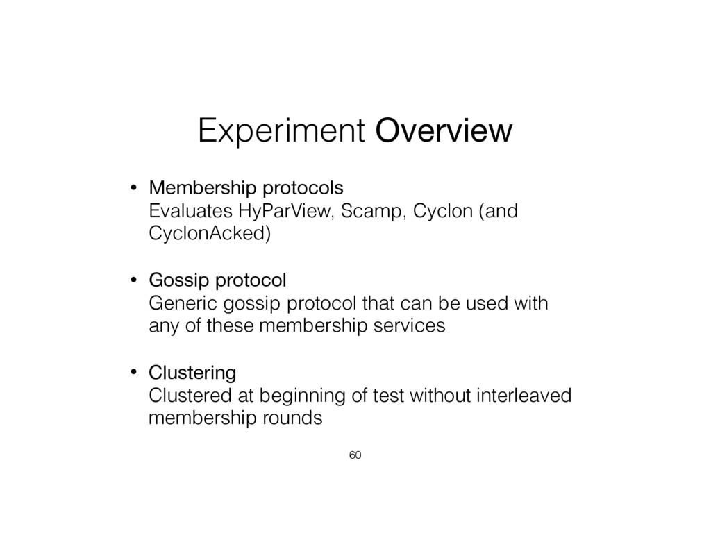 Experiment Overview • Membership protocols Eva...