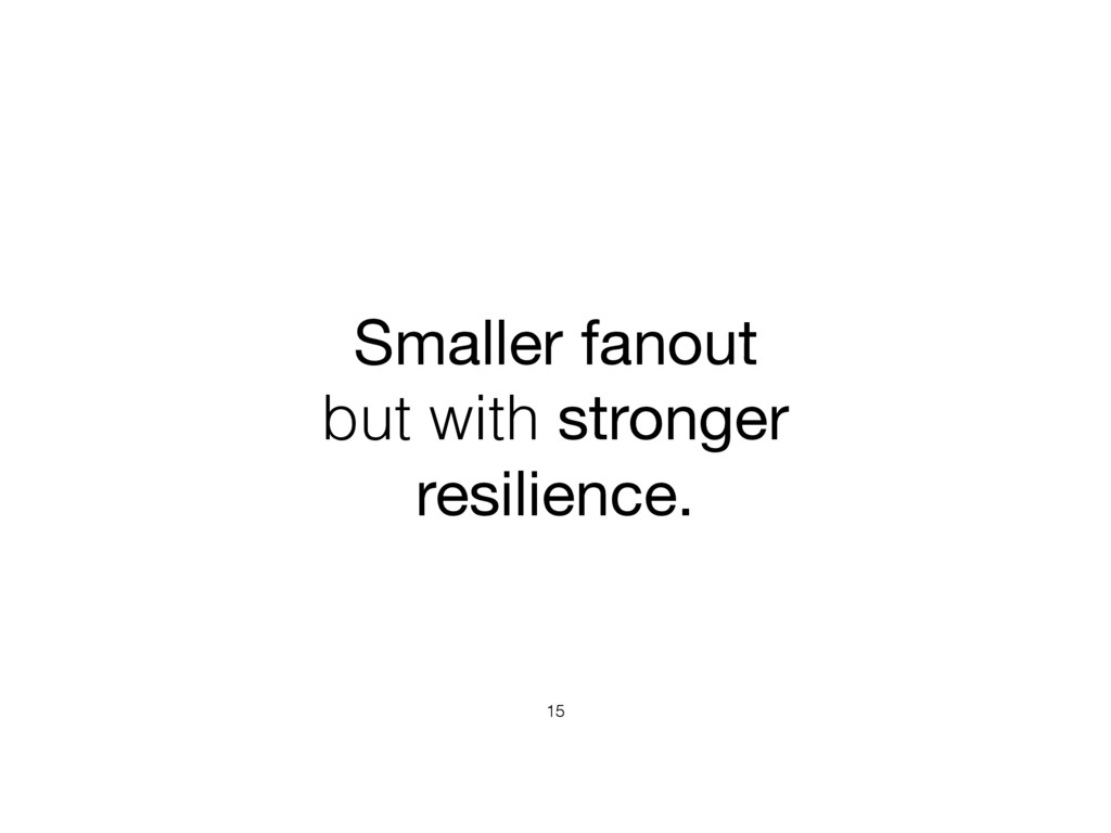 Smaller fanout  but with stronger resilience. 15