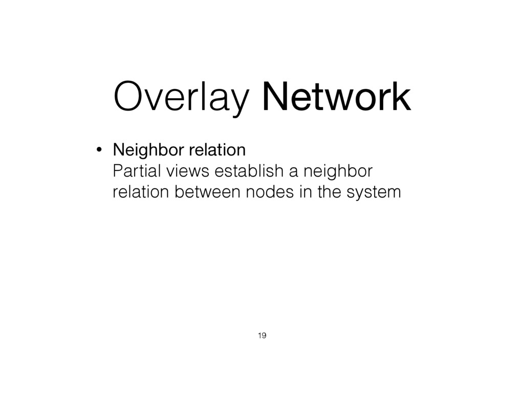 Overlay Network • Neighbor relation  Partial v...