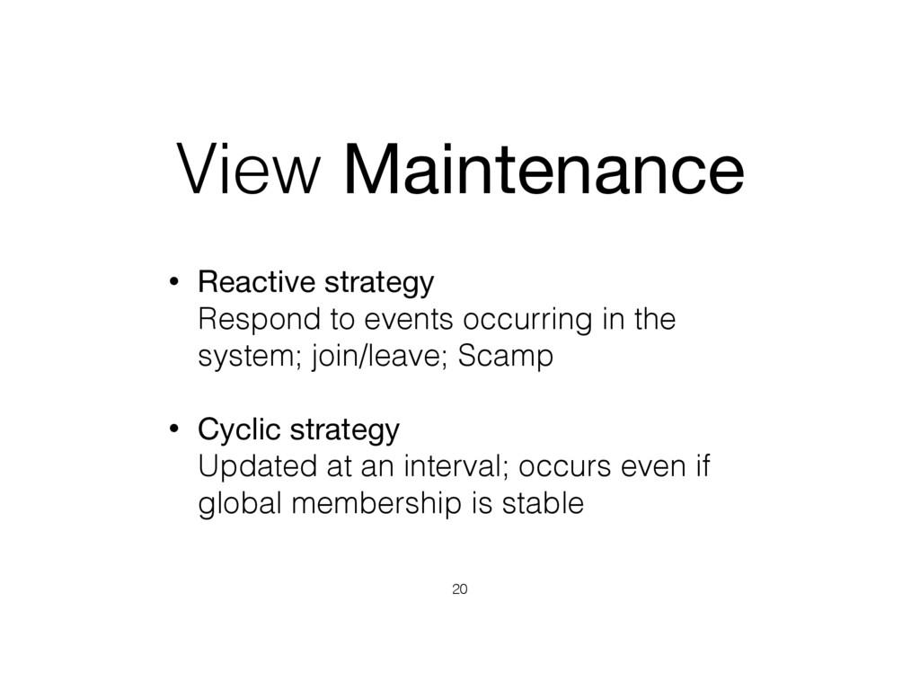 View Maintenance • Reactive strategy  Respond ...