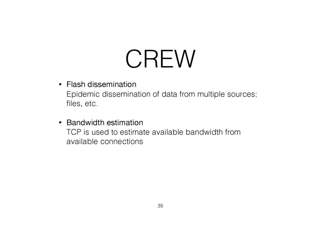 CREW • Flash dissemination  Epidemic dissemina...