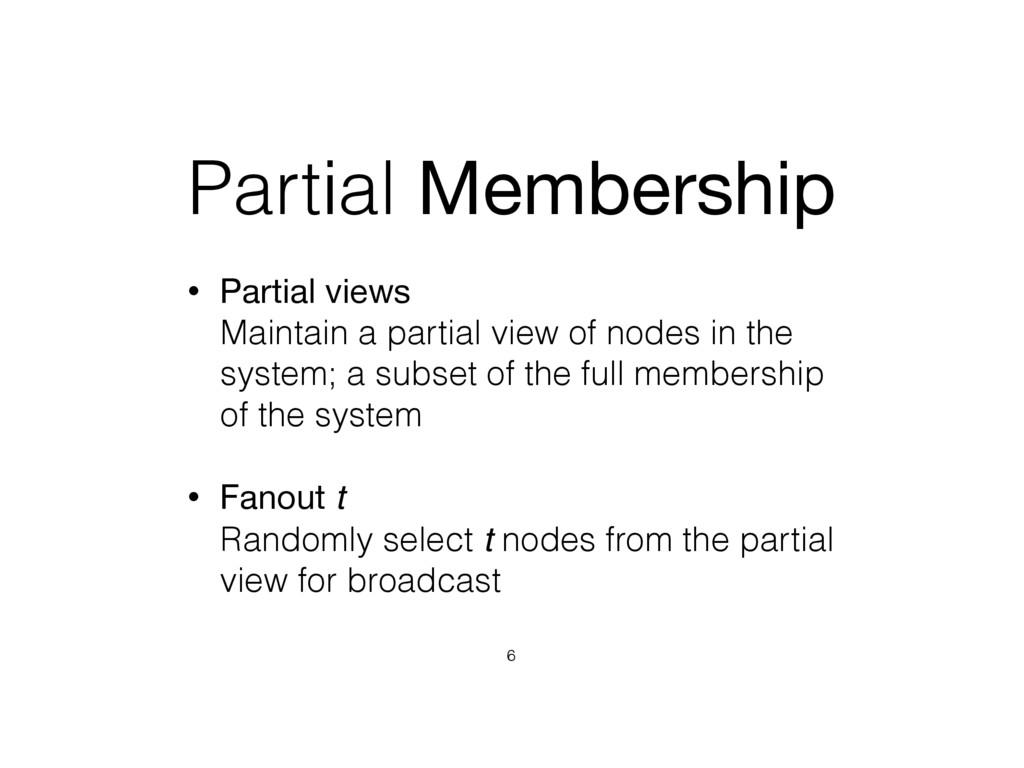 Partial Membership • Partial views  Maintain a...